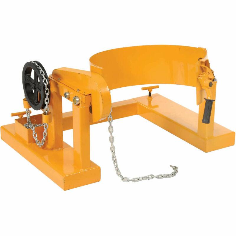 Forklift Tilting 55 Gallon Drum Dumper, Steel, Yellow, 800 Lb. Capacity, Lot of