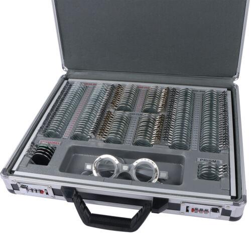 158pcs Optical Optometry Trial Lens Set Metal Rim Aluminum Case Free Trial Frame