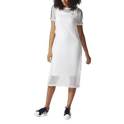 adidas Originals Layered Dress Three Stripes Chiffon Outside Short Sleeve BNWT