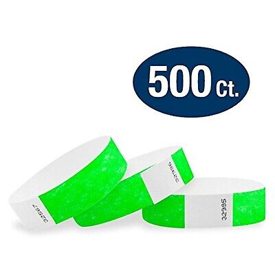 Neon Wristbands For Events (Neon Green 3/4 Inch Tyvek Wristbands 500 Pack Paper Wristbands For Events)
