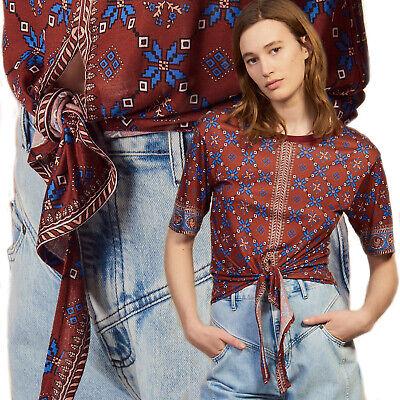 SANDRO Lamaar Tie Front Top T Shirt Short Sleeve Tee Scarf Print Blouse Knot 1