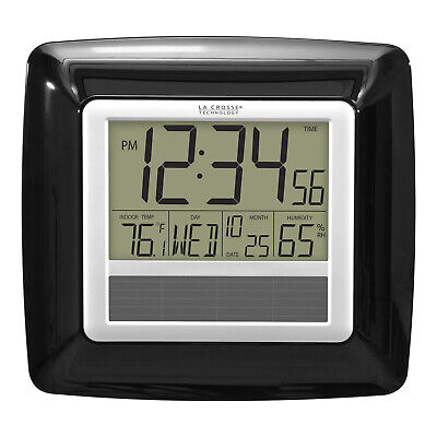 WT-8112U-BK La Crosse Technology Solar Atomic Digital Wall Clock IN Temp/Humid ()