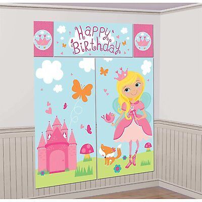 WOODLAND PRINCESS SCENE SETTER Wall Backdrop Party Decorations Birthday Castle