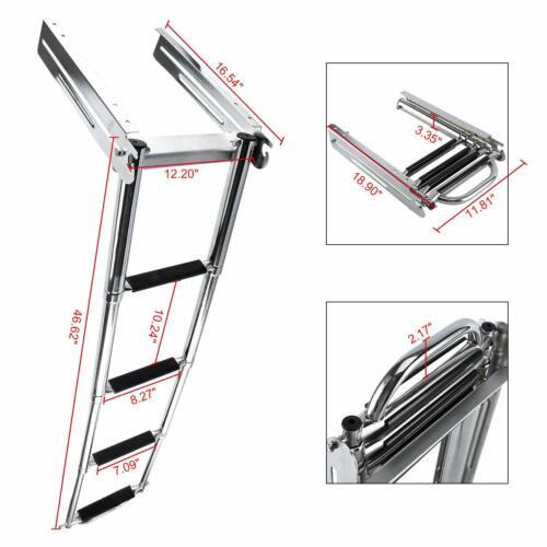 """4 Step Boat Ladder Stainless Steel Swim Telescoping Ladder 122.5cm/48.23"""""""
