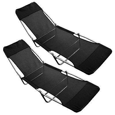 2 x Folding Outdoor Garden Sun Bed Textoline Lounger Recliner Relaxing Chair New