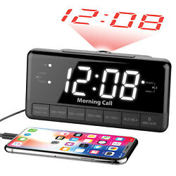 Projection Alarm Clock Radio with Large Display, Dual Alarms, FM Radio, USB Port