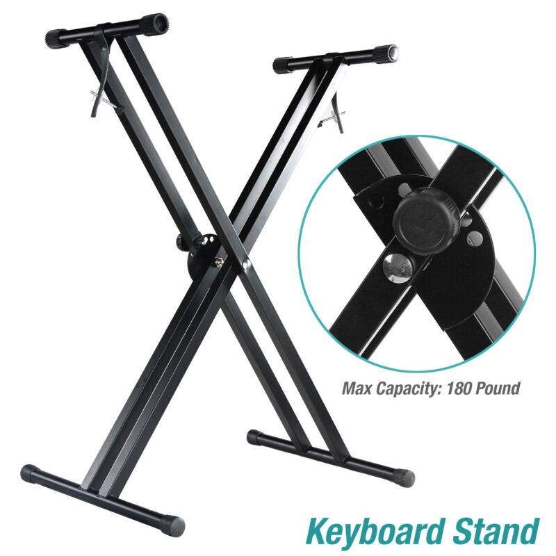 Adjustable Electric X-Stand Music Keyboard Standard Rack Piano Metal Dual Tube