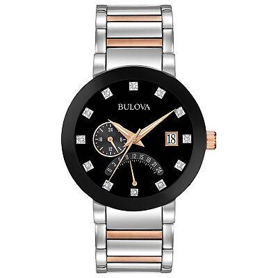 Bulova Diamonds Men's 98D129 Quartz Black Dial Two-Tone Bracelet 44mm Watch