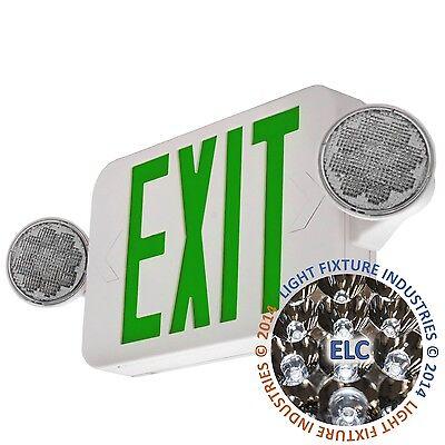 Led Green Exit Sign Emergency Light - Hi Output Compact Combo Ul924 Combogjr2