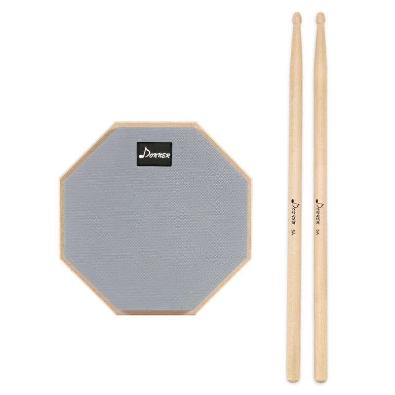 8 inch Drum Practice Pad 2-Sided Training Drum Pad Plate Sticks Percussion