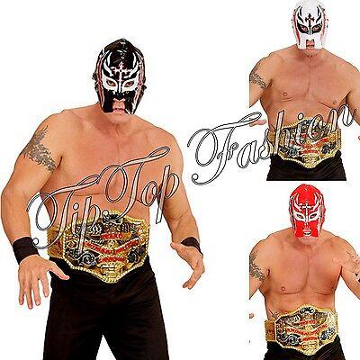 NEU Kinder Erwachsene WWE Wrestling Wrestler Maske & Gürtel Kostüm Satz Zubehör