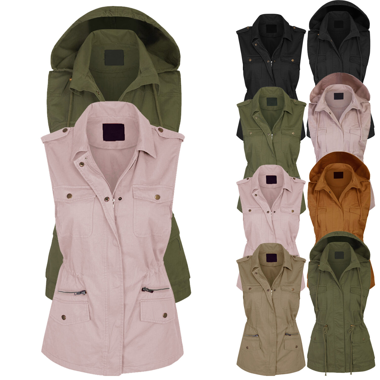 Women's Military Anorak Safari Utility Vest with Pockets S,M