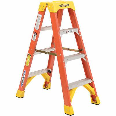 Werner T6204 4 Dual Access Fiberglass Step Ladder 300 Lb. Cap