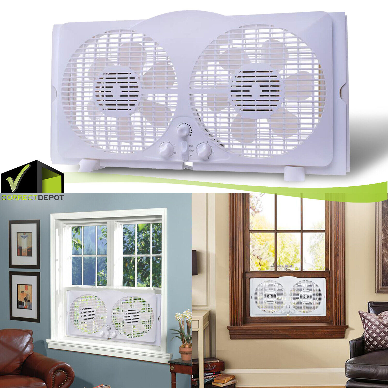 9-Inch Twin Window Fan 3 Speed & Thermostat 65-Watt Reversib