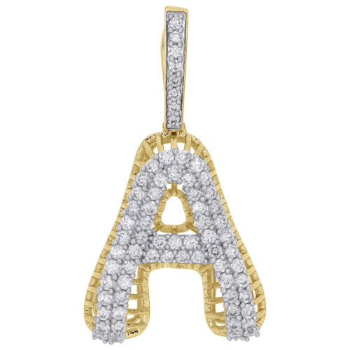 Solid 10K Yellow Gold .50 CT Diamond Eternity Circle Pendant Charm with Crown