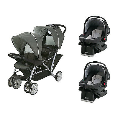 Graco DuoGlider Click Connect Double Stroller + SnugRide Car Seats Travel System