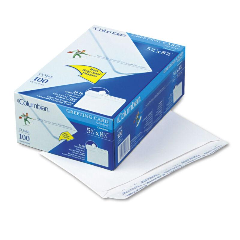 Columbian Greeting Card Envelope Grip Seal A9 5 3/4 x 8 3/4 White 100/Box CO468