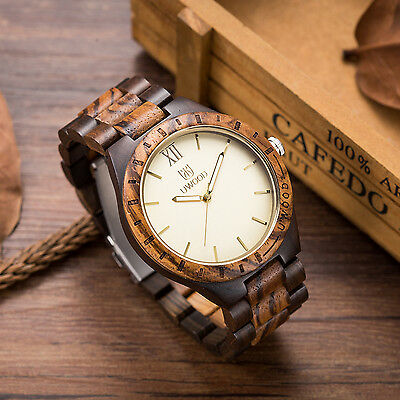 UWOOD Mens Wooden Watches Solid Zebra Wood Watch Gift for Men Relogio Masculino