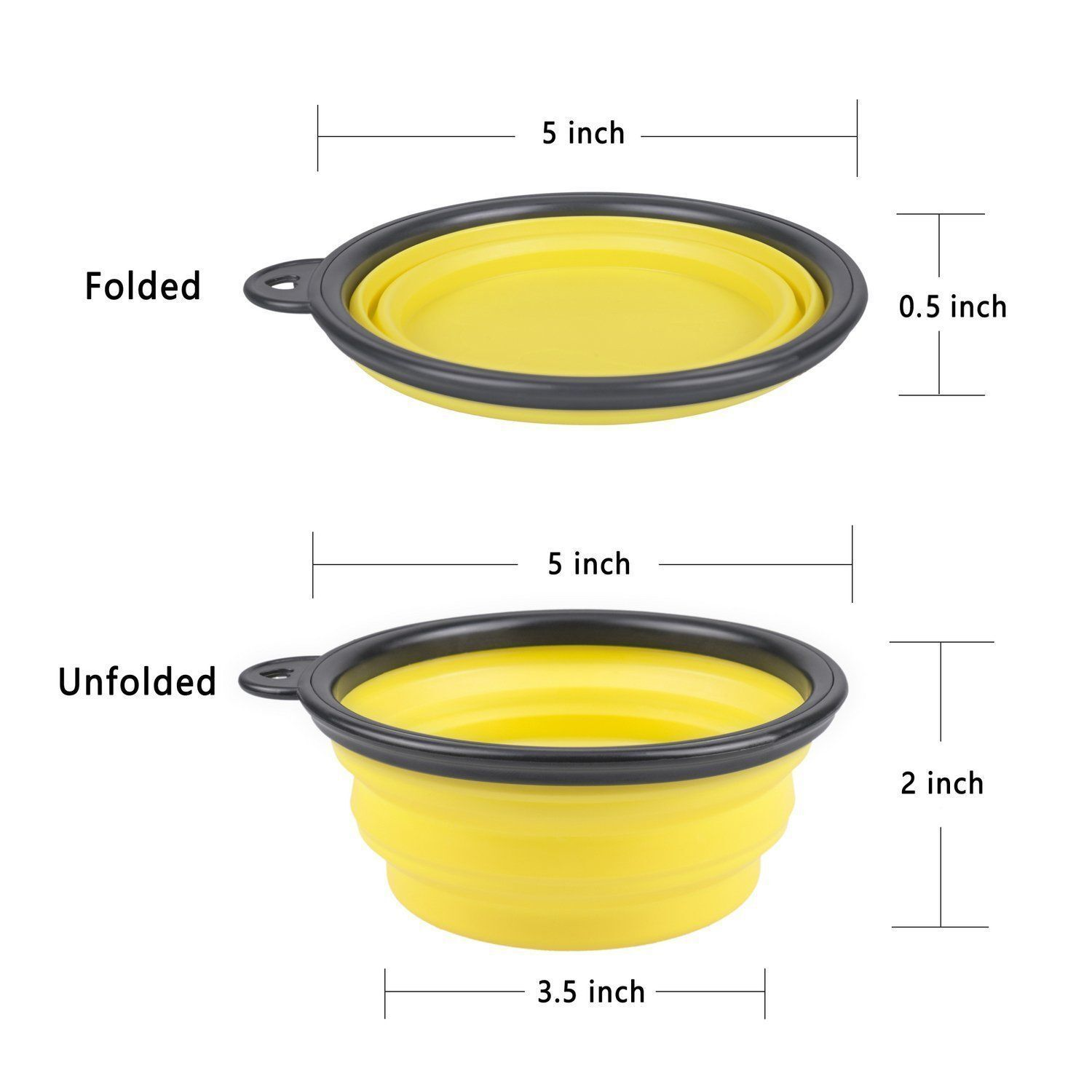1 Portable Travel Collapsible Foldable Pet Dog Bowl for Food & Water Bowls Dish Dishes, Feeders & Fountains