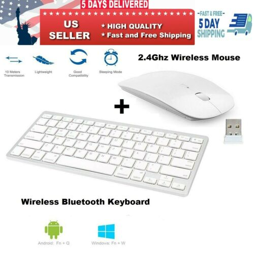 Wireless Bluetooth Keyboard & 2.4Ghz Optical Mouse Combo For iPad iMac Tablet PC