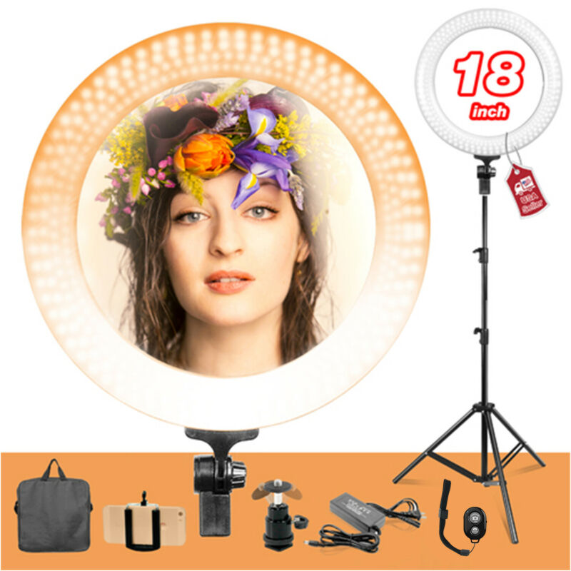 "Dimmable LED 18"" Ring Light, Stand,Camera Tripod with Bluetooth Remote Shutter"