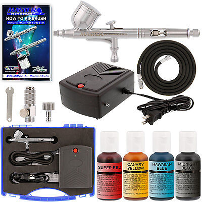Complete CAKE DECORATING AIRBRUSH SYSTEM KIT 4 Food Colors Set, Air Compressor