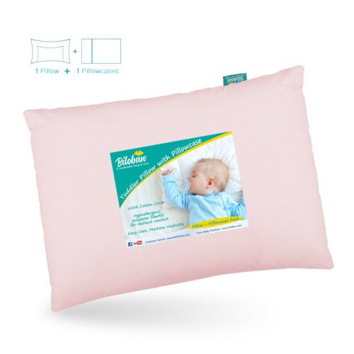 "Baby First Toddler Pillow with Cotton Pillowcase Soft Flat Neck Pillow 13""x18"""
