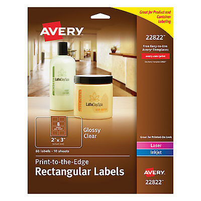 Avery Rectangle Print-to-the-edge Labels 2 X 3 Glossy Clear 80pack 22822