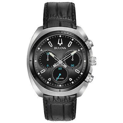 Bulova CURV Men's Quartz Chronograph Black Leather Strap 43mm Watch 98A155