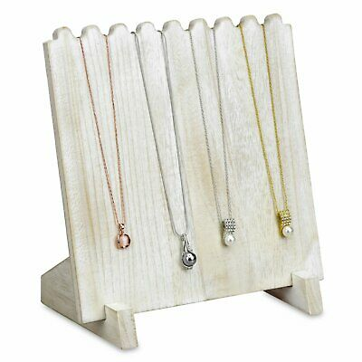Antiqued White Wooden Necklace Chain Jewelry Display Stand 9 38 X 5 12 X 10h