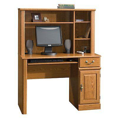 Sauder Orchard Hills Computer Desk with Hutch, Carolina Oak 3 adjustable shelves 3 Shelf Oak Desk