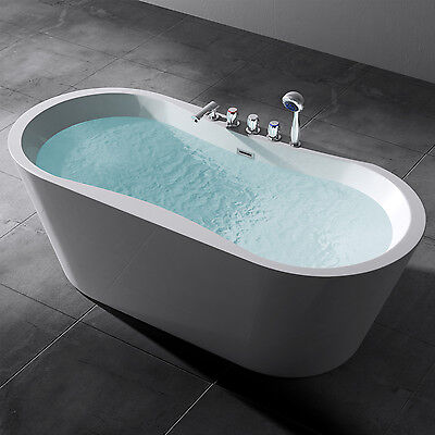 Freistehende Badewanne Acryl-Wanne Standbadewanne Armatur 170x80 cm Vicenza602s
