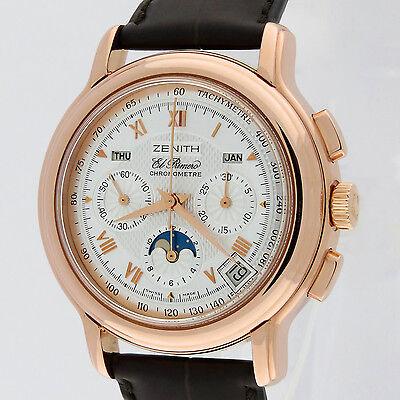 Zenith 18K Rose Gold Chronomaster T El Primero Moonphase Chronograph 17.0240.410