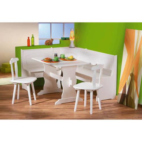 Eckbank weiß Eckbankgruppe Bank Esstisch 2 Stühle Kiefer massiv Landhaus Küche