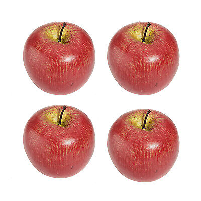 4 Large Artificial Red Apples Decorative Fruit N3