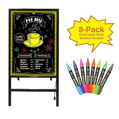 28x20 Flashing Illuminated Menu Sign Led Writing Message Board W Stand Remote