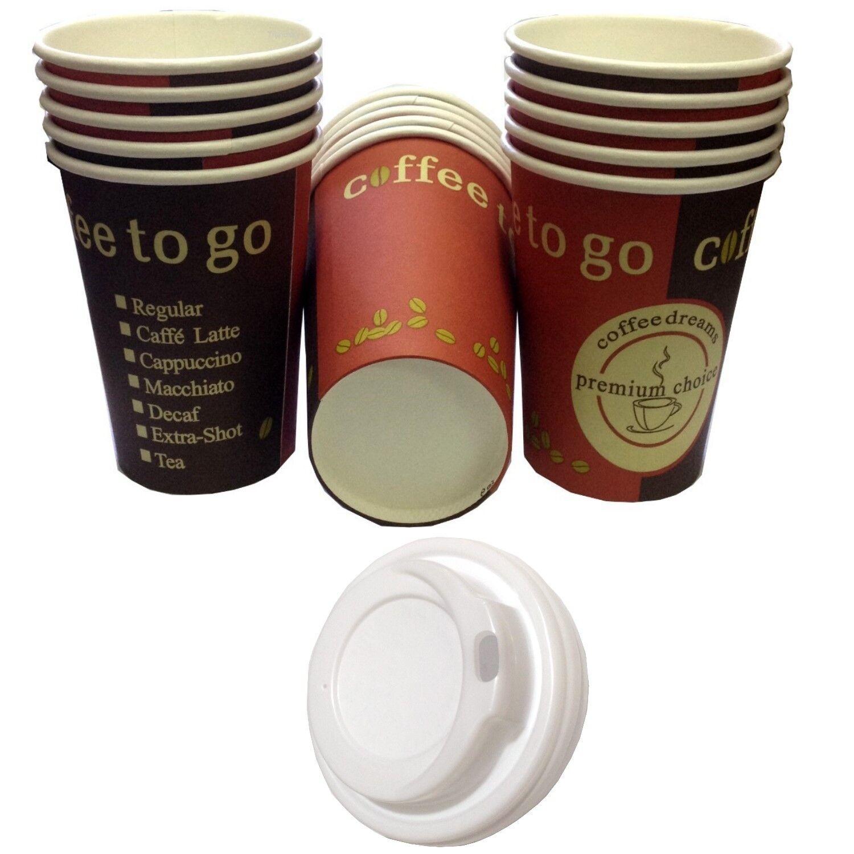 Kaffeebecher 300ml Hartpapier Pappbecher Cups Coffee to go mit/ohne Deckel 0,3l