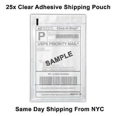 25 Self Adhesive Clear Mailing Shipping Label Pouch Packing List Pouch 8x5.5