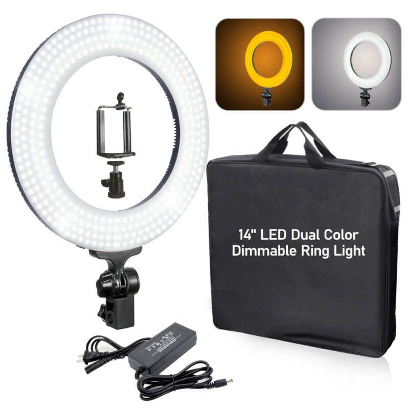 "14"" Dimmable Ring Light kit White/Yellow Color with Light Stand and Phone Holder"
