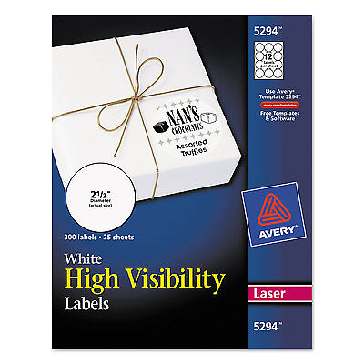 Avery High-visibility Round Permanent Id Labels Laser 2 12 Dia White 300pack