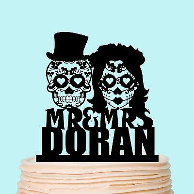 Sugar Skull Wedding Cake Topper Halloween Skeleton Mr and Mrs Decoration Custom