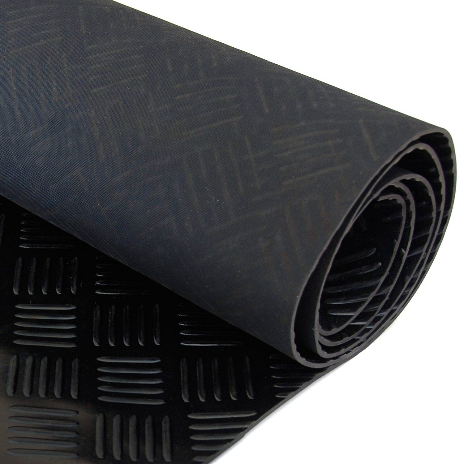 Car Parts - 5 Bar Checker Patterned Rubber Flooring Matting for Garage, Van or Car Roll Mat