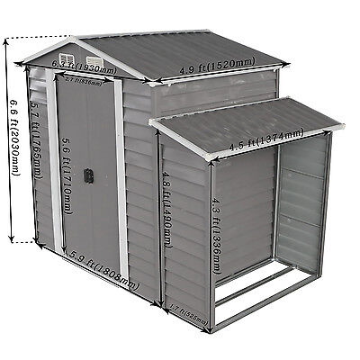 Horizontal Shed - 8'x5' Large Outdoor Backyard Storage Shed Utility Tool Lawn Building w/Door Gray