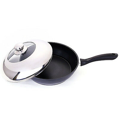 "Non-Stick Deep Frying Pan 11"" Fry Saute Skillet Jumbo Cooker Stainless Steel Lid"