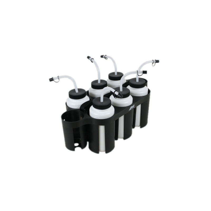 A&R Sports Hockey Water Bottle Puck Carrier with 6 White Curve Straw Bottles