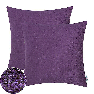 2Pcs Plum Purple Cushion Covers Pillows Shells Solid Dyed Chenille Sofa 22 x 22""