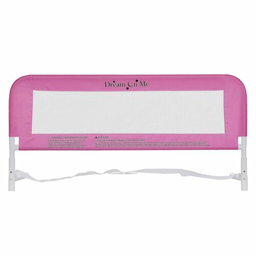 Dream On Me Hide Away Safety Bed Rail for Kids Baby Security Mesh Blush Pink