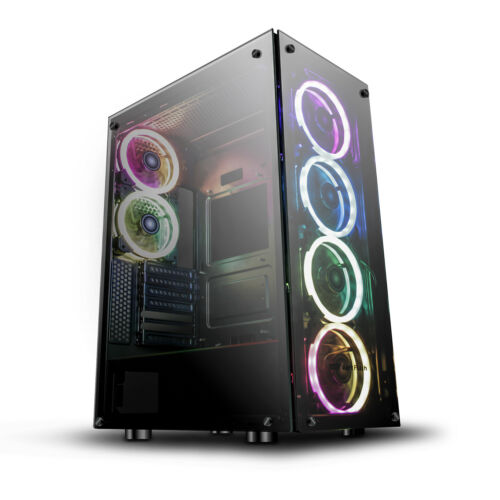 ATX Mid-Tower Gaming PC Case darkFlash Phantom with 6pcs DR12 RGB Fans Black