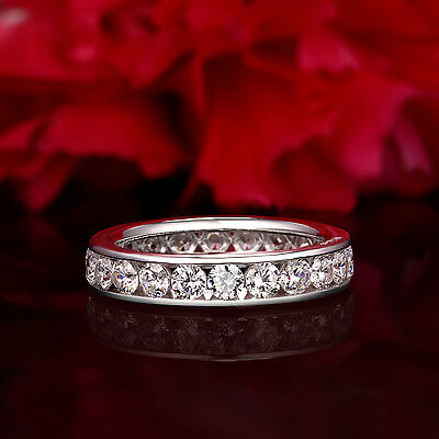 2 00 Ct 14K Real White Gold Round Eternity Endless Wedding Anniversary Ring Band