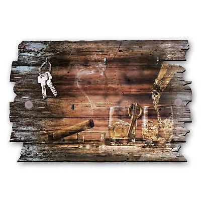 Whisky Zigarre Schlüsselbrett Hakenleiste Landhaus Shabby chic aus Holz 30x20cm (Haken Schlüsselbrett)